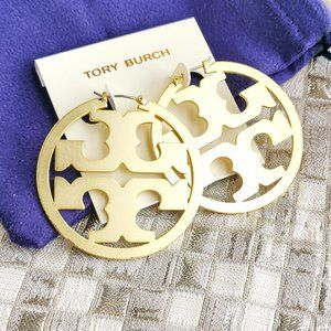 Tory Burch Miller statement logo hoop earrings